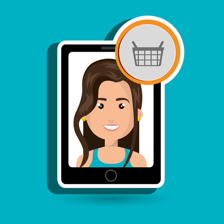 bue: black smartphone with a cartoon woman in the screen wearing a bue shirt and a shopping basket above over a white background vector illustration