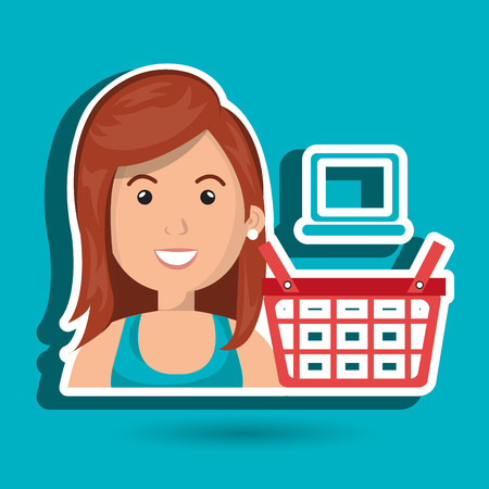 debt management: cartoon ginger woman next to a red shopping basket and a blue laptop above over a white background vector illustration