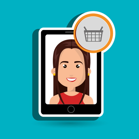 red shirt: black smartphone with a cartoon woman in the screen wearing a red shirt and a shopping basket above over a white background vector illustration Illustration