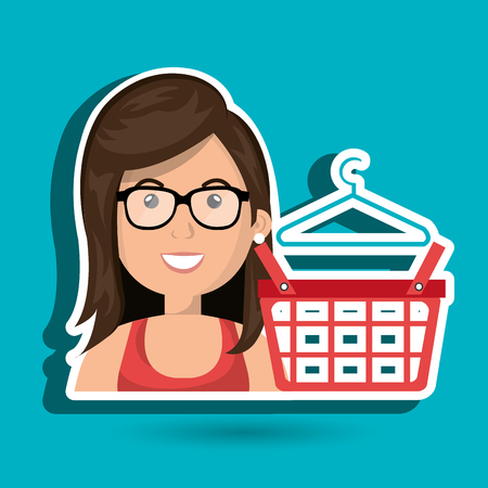 clothespin: cartoon woman wearing eyeglasses and a red shirt next to a red shopping basket and a clothespin above over a white background vector illustration