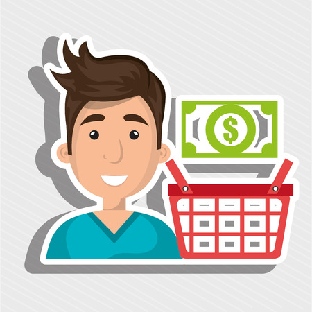 cartoon man wearing a blue shirt next to a shopping basket and cash above over a yellow background vector illustration Illustration