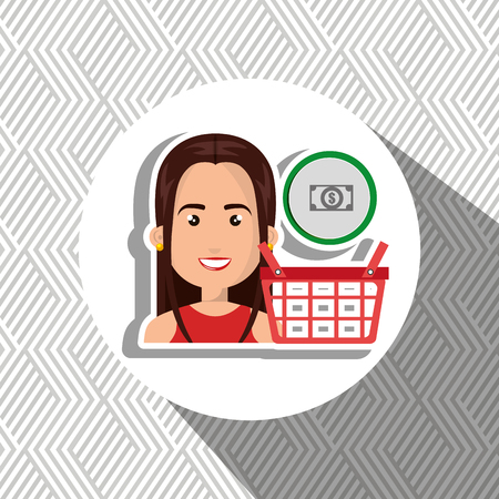 red shirt: cartoon woman wearing red shirt next to a shopping basket and a cash symbol in a circle above over a white background vector illustration Illustration
