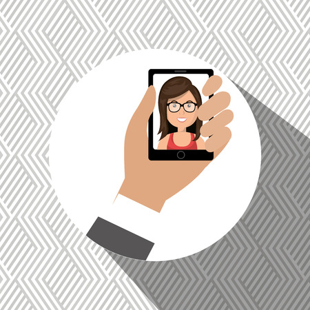 answering: cartoon business man hand holding a black smartphone over a white background with a cartoon business woman in the screen vector illustration Illustration