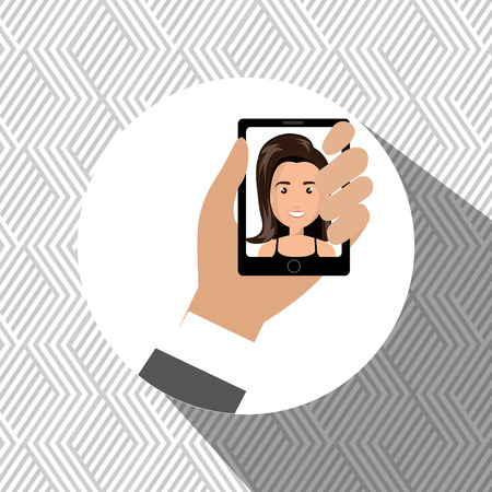 answering phone: cartoon business man hand holding a black smartphone over a white background with a cartoon business woman in the screen vector illustration Illustration