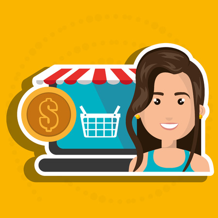 cartoon woman next to a laptop with a online store message and a red and white tent and a big gold coin over a blue background vector illustration Illustration