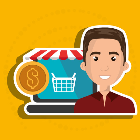 cartoon business man next to a laptop with a online store message and a red and white tent and a big gold coin over a blue background vector illustration Illustration