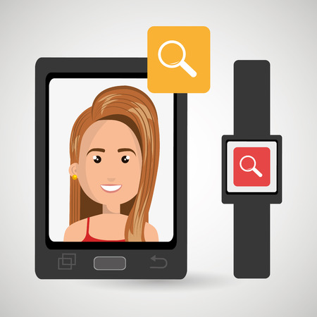 business woman with tablet: smartphone and watch device with a cartoon woman in the screen with media icon over white  background