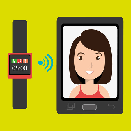 business woman with tablet: smartphone and watch device with a cartoon woman in the screen with media icon over green background
