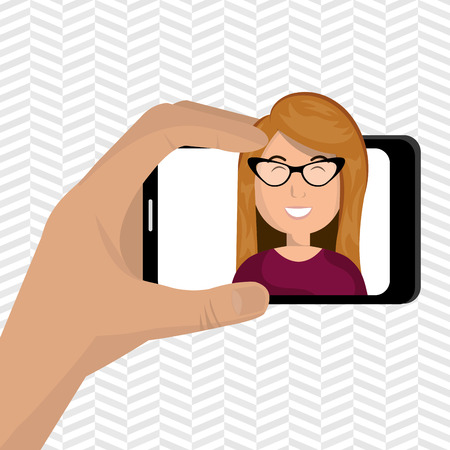 video call: human hand holding a smartphone with a cartoon woman on the screen over pattern background vector illustration