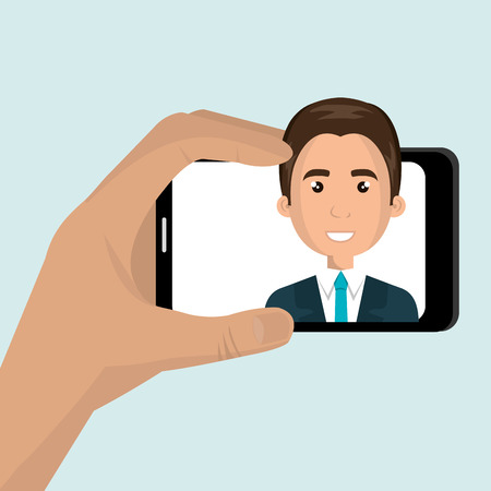 video call: monopad holding a smartphone with a cartoon  man on the screen over blue background vector illustration