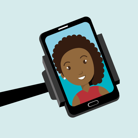 video call: monopad holding a smartphone with a cartoon  woman on the screen over blue background vector illustration Illustration