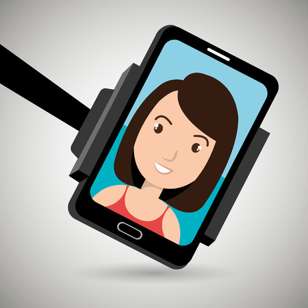 video call: monopad holding a smartphone with a cartoon  woman on the screen over isolated background vector illustration