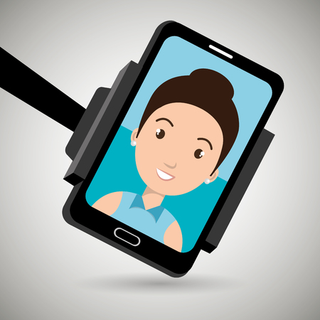 business woman with tablet: monopad holding a smartphone with a cartoon  woman on the screen over isolated background vector illustration