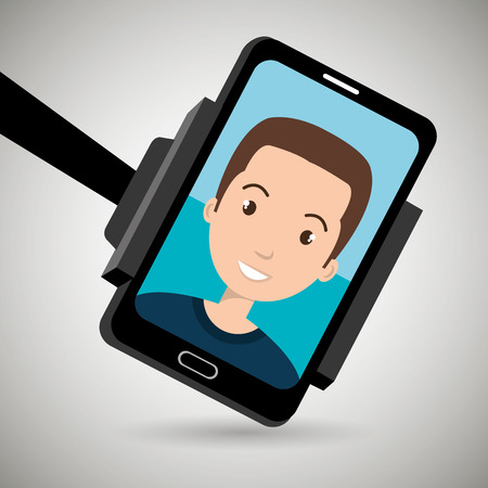 video call: human hand holding a smartphone with a cartoon man on the screen over isolated illustration