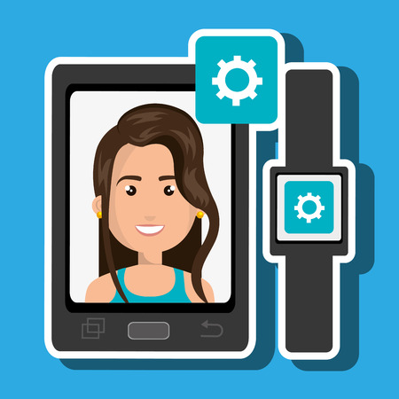 business woman with tablet: smartphone and watch device with a cartoon woman in the screen with media icon over pattern background Illustration