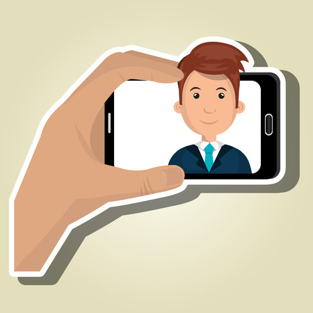 video call: human hand holding a smartphone with a cartoon man on the screen over pattern background vector illustration Illustration