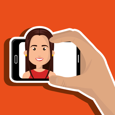 business woman with tablet: human hand holding a smartphone with a cartoon woman on the screen over blue background vector illustration Illustration