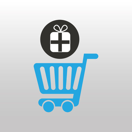 pc icon: shopping online with pc icon, vector illustration Illustration