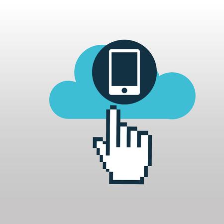 back up on cloud icon, vector illustration Illustration