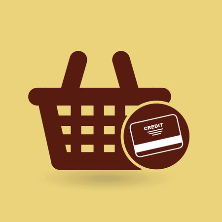 shopping goods with credit card icon, vector illustration Illustration