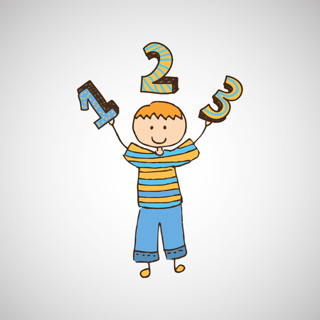 happy child with numbers icon, vector illustration