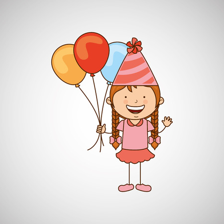 girl in a celebration party icon, vector illustration