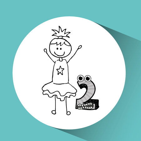 two child: happy child with number two icon, vector illustration