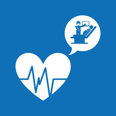 medical care icon in heart shape , vector illustration