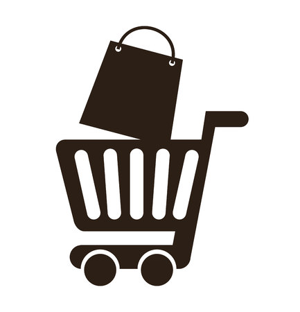 paper delivery person: cart shopping commerce isolated icon vector illustration graphic