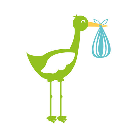 childbirth: stork with bag baby isolated icon vector illustration design Illustration