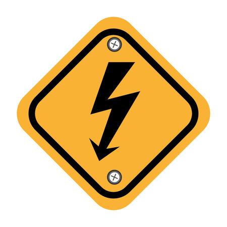 yellow beware: rhombus security yellow sign vector illustration design