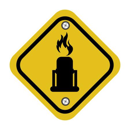 rhombus security yellow sign vector illustration design