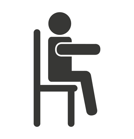 siting: human figure silhouette siting in chair vector illustration design