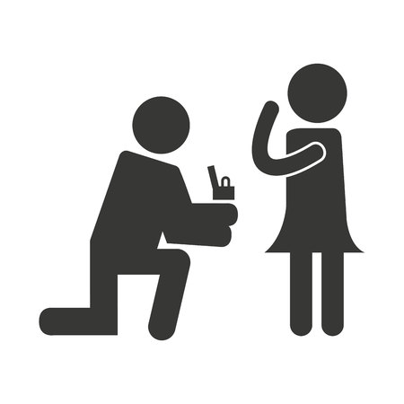 proposed: person asking for marriage vector illustration design