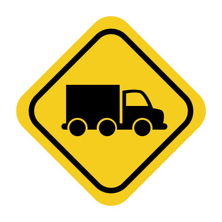 dangerous work: rhombus signal with vehicle isolated icon vector illustration design