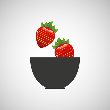market gardening: strawberry on cup, fresh fruit icon, vector illustration