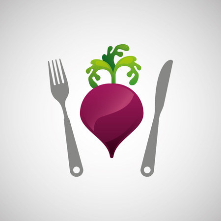 market gardening: onion with knife and work, vector illustration