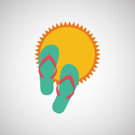 sandals: sandals, vacation on beach icon, vector illustration