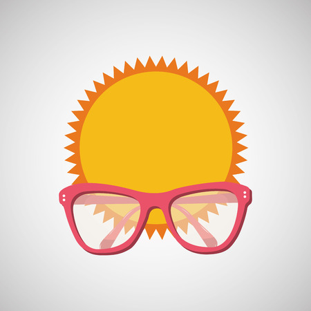 visiting card: sunglasses, vacation on beach icon, vector illustration Illustration