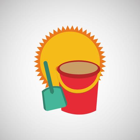 pail: pail, vacation on beach icon, vector illustration Illustration
