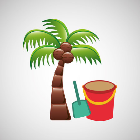pail: pail and palm on beach icon, vector illustration Illustration
