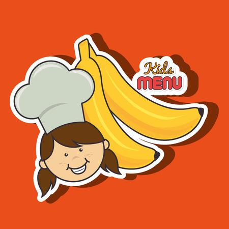 eating lunch: kids menu design, vector illustration  graphic
