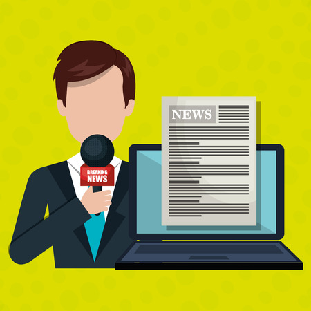 newsreader: reporter avatar with laptop isolated icon design, vector illustration  graphic