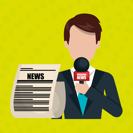 newsreader: reporter avatar with newspaper isolated icon design, vector illustration  graphic