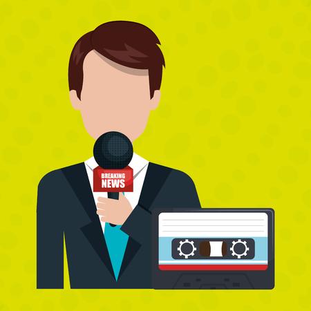 newsreader: reporter avatar with cassette isolated icon design, vector illustration  graphic Illustration