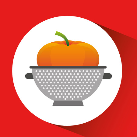 pumpkin with cooking pot icon, vector illustration Illustration
