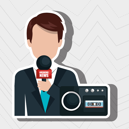 newsreader: reporter avatar with radio isolated icon design, vector illustration  graphic