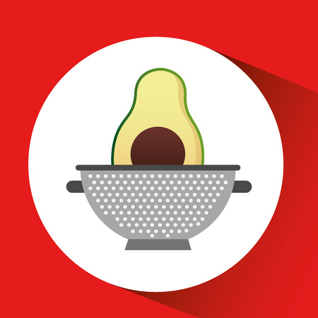 avocado with cooking pot icon, vector illustration Illustration