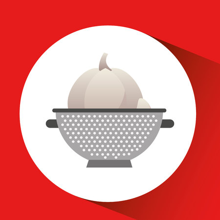onion with cooking pot icon, vector illustration