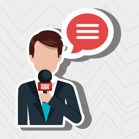 newsreader: reporter avatar with speech bubble isolated icon design, vector illustration  graphic